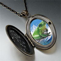 Necklace & Pendants - surfing frog photo locket pendant necklace Image.