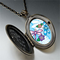 Necklace & Pendants - dragonflies flowers photo locket pendant necklace Image.