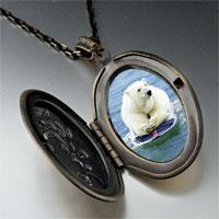 Necklace & Pendants - boogie boarding polar bear photo locket pendant necklace Image.