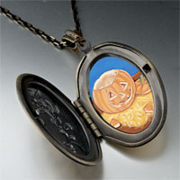 Necklace & Pendants - jack olantern carving photo locket pendant necklace Image.