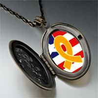Necklace & Pendants - usa flag &  yellow ribbon photo locket pendant necklace Image.