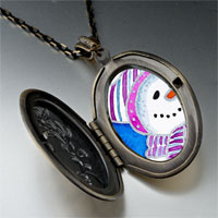 Necklace & Pendants - pendants striped hat christmas gifts snowman photo locket pendant necklace Image.