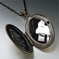 Necklace & Pendants - black electric guitar photo locket pendant necklace Image.