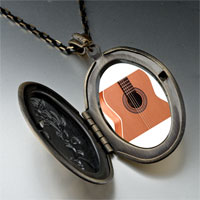 Necklace & Pendants - classic guitar photo locket pendant necklace Image.