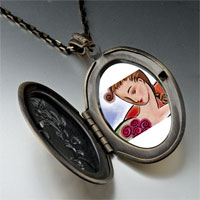 Necklace & Pendants - woman roses photo locket pendant necklace Image.