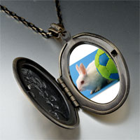 Necklace & Pendants - soccer bunny rabbit photo locket pendant necklace Image.