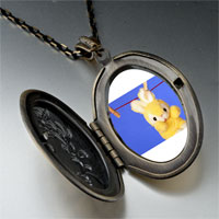 Necklace & Pendants - clothesline bunny rabbit photo locket pendant necklace Image.