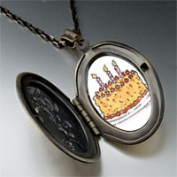 Necklace & Pendants - candles birthday cake photo locket pendant necklace Image.