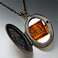 Necklace & Pendants - leather bound holy bible photo locket pendant necklace Image.