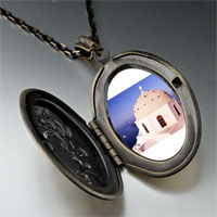 Necklace & Pendants - cross on a church photo locket pendant necklace Image.
