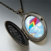 Necklace & Pendants - flying a purple kite photo locket pendant necklace Image.