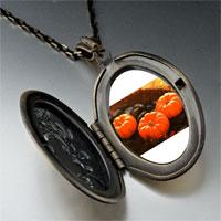 Necklace & Pendants - jack o lantern halloween pumpkin toys oval and flower yellow pendant Image.