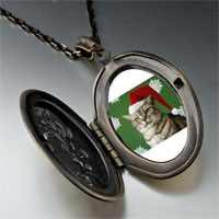 Necklace & Pendants - christmas cat looking good pendant necklace Image.