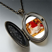 Necklace & Pendants - sleeping santa kitten pendant necklace Image.