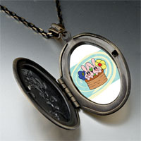 Necklace & Pendants - bunnies in a basket pendant necklace Image.