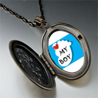 Necklace & Pendants - heart baby boy foot blue pendant necklace Image.