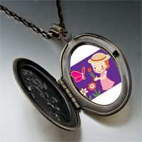 Necklace & Pendants - girl in garden pendant necklace Image.