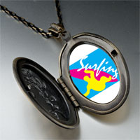 Necklace & Pendants - guy surfing yellow pendant necklace Image.