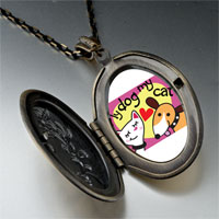 Necklace & Pendants - dog loves cat photo pendant necklace Image.