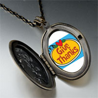 Necklace & Pendants - give thanks heart jack o lantern halloween pumpkin oval and flower yellow pendant Image.