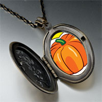 Necklace & Pendants - jack o lantern halloween pumpkin love oval and flower yellow pendant Image.