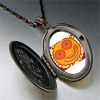 Necklace & Pendants - smiling jack o lantern halloween pumpkin pie oval and flower yellow pendant Image.