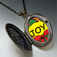 Necklace & Pendants - joy christmas wreath pendant necklace Image.