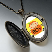Necklace & Pendants - cute jack o lantern halloween pumpkin boy oval and flower yellow pendant Image.