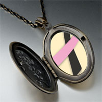 Necklace & Pendants - black pink ribbon awareness pendant necklace Image.