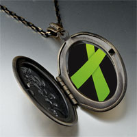 Necklace & Pendants - lime green ribbon awareness pendant necklace Image.
