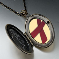 Necklace & Pendants - burgundy ribbon awareness pendant necklace Image.