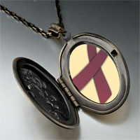 Necklace & Pendants - cranberry ribbon awareness pendant necklace Image.
