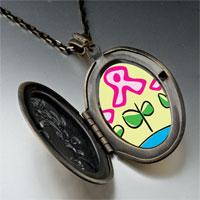 Necklace & Pendants - pink ribbon flowers pendant necklace Image.
