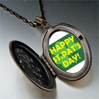"Necklace & Pendants - patrick' s day theme photo oval flower yellow words "" happy pat' s day""  pendant necklace Image."