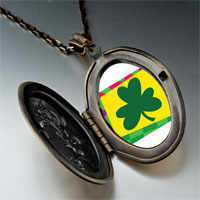 Necklace & Pendants - patrick' s day theme photo oval flower yellow shamrock pendant necklace Image.