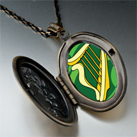 Necklace & Pendants - patrick' s day theme photo oval flower yellow celtic harp pendant necklace Image.