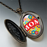 Necklace & Pendants - mother' s day theme photo oval flower yellow heart pendant necklace Image.