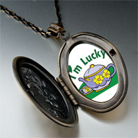 Necklace & Pendants - cartoon theme photo oval flower yellow i' m lucky pendant necklace Image.