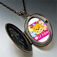 Necklace & Pendants - cartoon theme photo oval flower yellow i love necklace pendant Image.