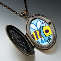 Necklace & Pendants - cartoon theme photo oval flower yellow bee cool pendant necklace Image.