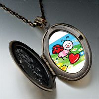 Necklace & Pendants - cartoon theme photo oval flower yellow little lady bug easter pendant necklace Image.