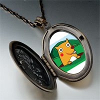 Necklace & Pendants - cartoon theme photo oval flower yellow groundhog day easter pendant necklace Image.