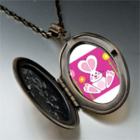 Necklace & Pendants - cartoon theme photo oval flower yellow bunny love easter pendant necklace Image.