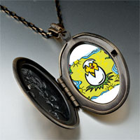 Necklace & Pendants - cartoon theme photo oval flower yellow easter pendant necklace Image.