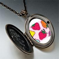 Necklace & Pendants - cartoon theme photo oval flower yellow strawberry summer pendant necklace Image.