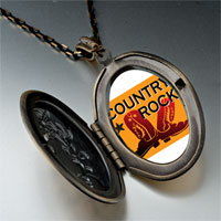 "Necklace & Pendants - "" gold music theme country rock photo pendant necklace Image."