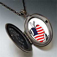 Necklace & Pendants - american flag printed on apple oval flower yellow pendant necklace Image.