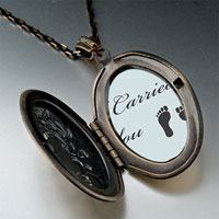 "Necklace & Pendants - "" i carried you""  feet photo locket pendant necklace gifts for women Image."