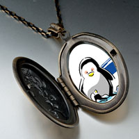 Necklace & Pendants - cute penuins mother looking at baby pendant necklace oval flower yellow Image.