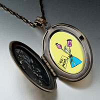 Necklace & Pendants - mom pink carnation vase pendant necklace oval flower yellow Image.